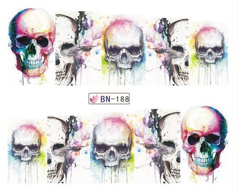 Full Set of 10 Punk Gothic Rockabilly SKULL Nail Wrap Decals Sticker Salon Quality Nail Art - Great for Halloween! 1 Sheet