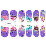 12 Punk Gothic Rockabilly Ice Cream Cupecake Heart Bow Nail Wrap Decals Sticker Salon Quality Nail Art - Great for Halloween! 1 Sheet