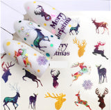 Full Sheet Merry Christmas - Deer - Moose Nail Stickers - Nail Art Nail Wrap Nail Decals