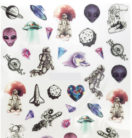 Full Set of Area 51 inspired Decals - Alien - space ship - planet - moon - Astronaut Nail Sticker Salon Quality Nail Art - Nail Decals