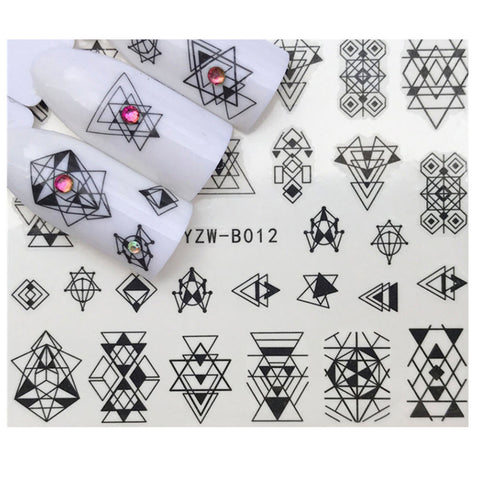 Full Sheet Black Abstract Triangle Nail Stickers Minimalist Indie - Salon Quality Nail Art Nail Wrap Nail Decals  - 1 Sheet