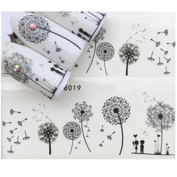 Full Sheet Black Dandelion Flower Lovers Nail Stickers - Salon Quality Nail Art Nail Wrap Nail Decals  - 1 Sheet