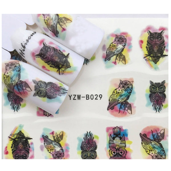 Full Set Black Owl Watercolor Nail Sticker Salon Quality Nail Art Nail Wrap Nail Decals  - 1 Sheet