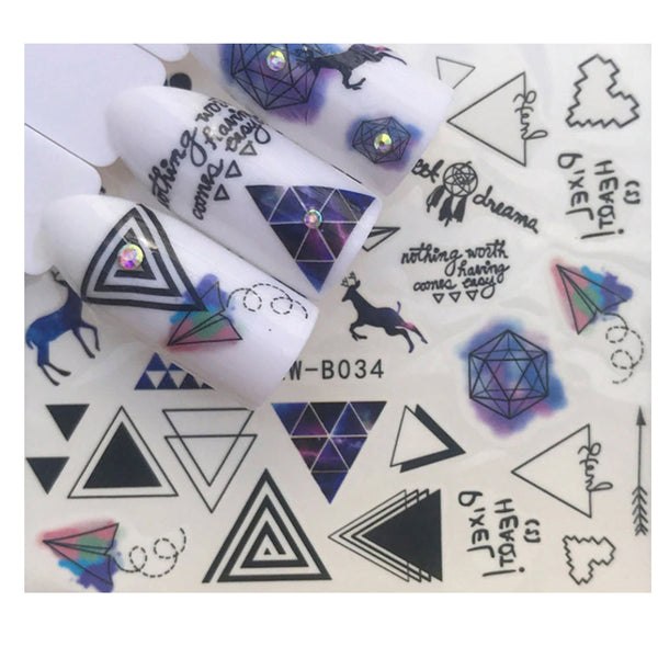 Full Sheet Black Rustic Indie  Nail Sticker Heart - Paper Plane - Diamonds -Deer  - Salon Quality Nail Art Nail Wrap Nail Decals  - 1 Sheet