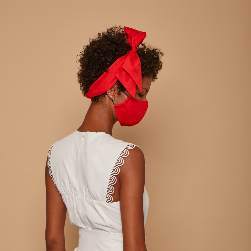 Red Cotton Bow Mask