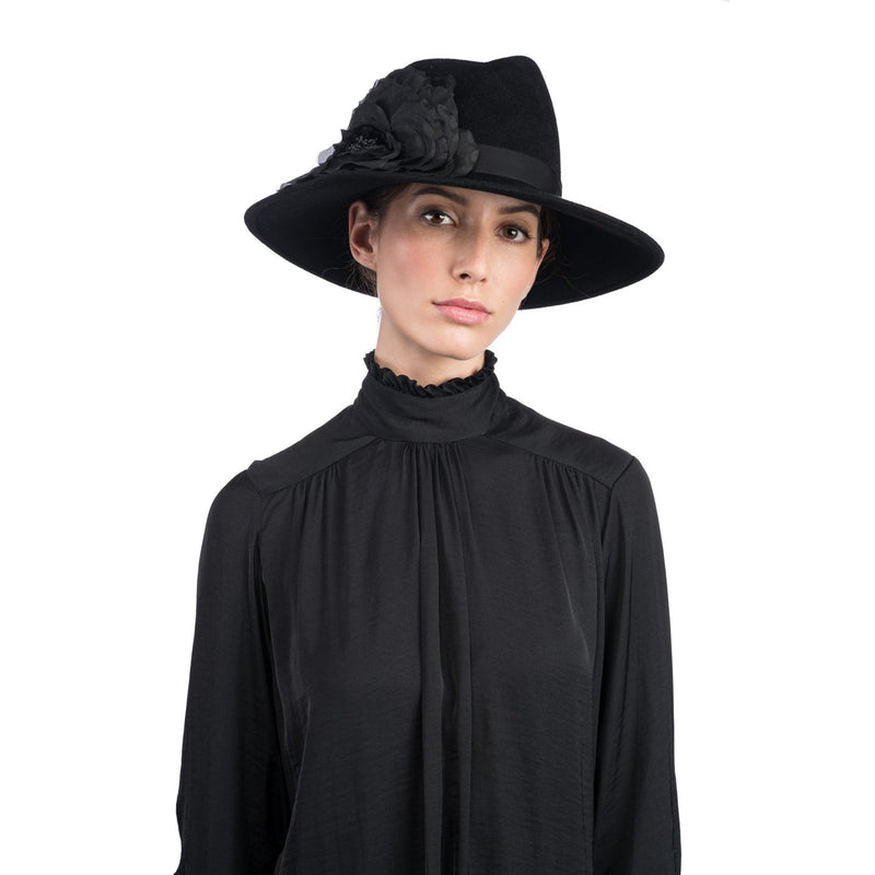 Dita Asymmetric-Crown Fedora with Flower - Eugenia Kim