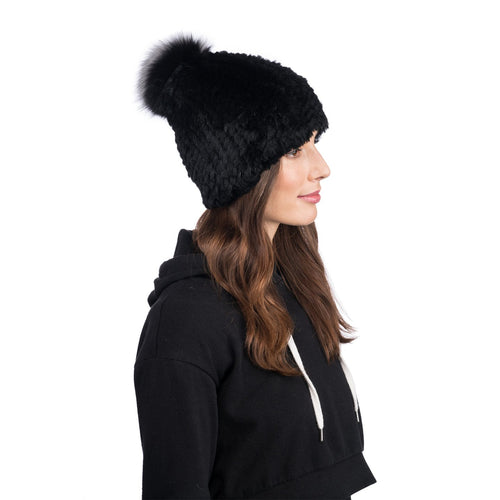 JANUARY BLACK RABBIT FUR BEANIE
