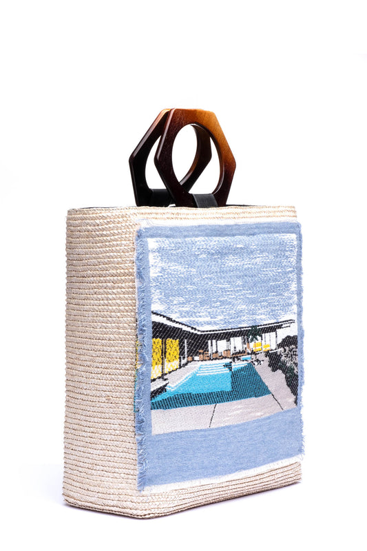 Margaux Shopper in Stone with Poolside Applique
