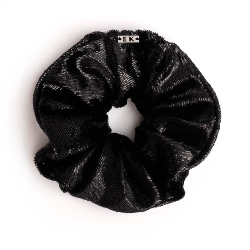 Mallory Black metallic velvet colorblock scrunchie