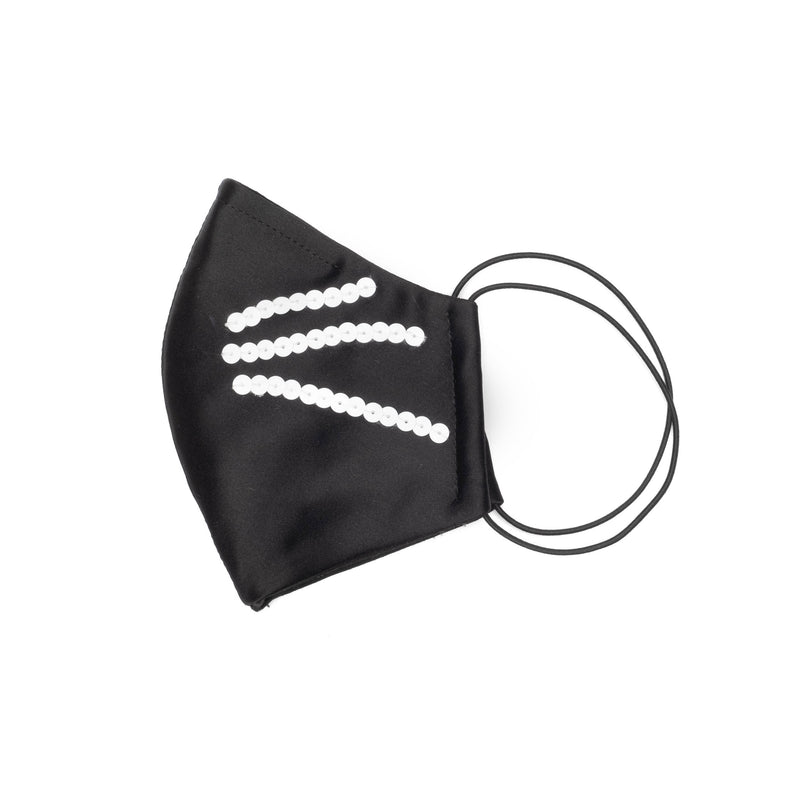 Sculpted Cat Whisker Mask in Black Satin