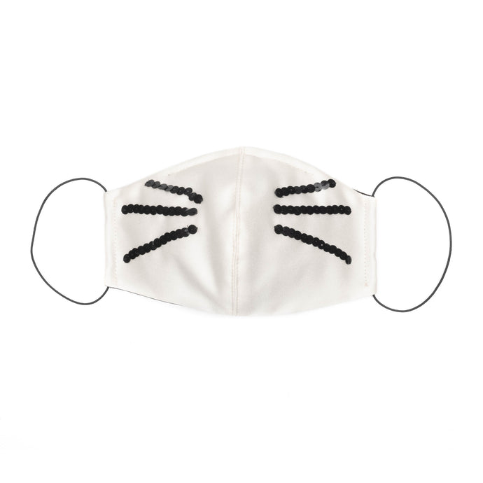 Sculpted Cat Whisker Mask in Ivory Satin
