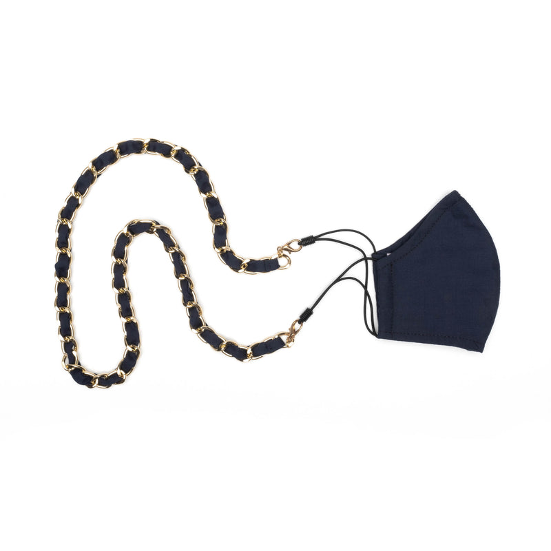 Navy Cotton Chain Mask