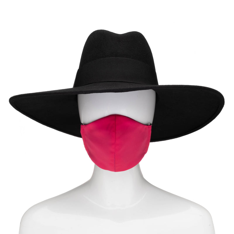 Sculpted Mask in Fuchsia Satin