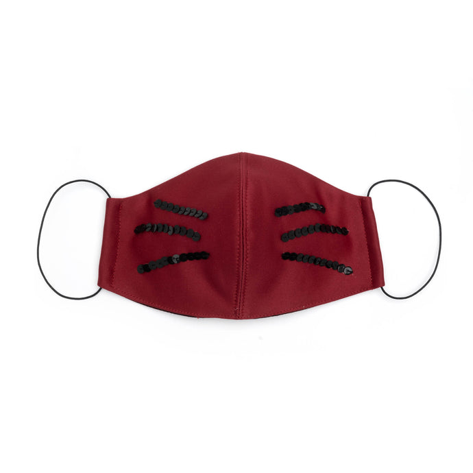 Sculpted Cat Whisker Mask in Wine Satin