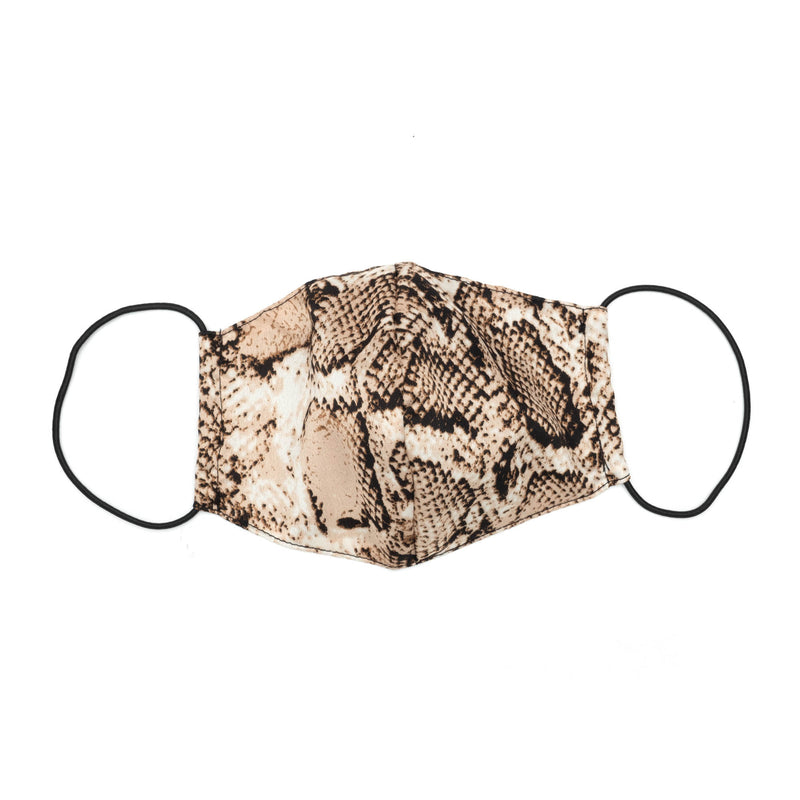Sculpted Mask in Beige Snake-Print Satin