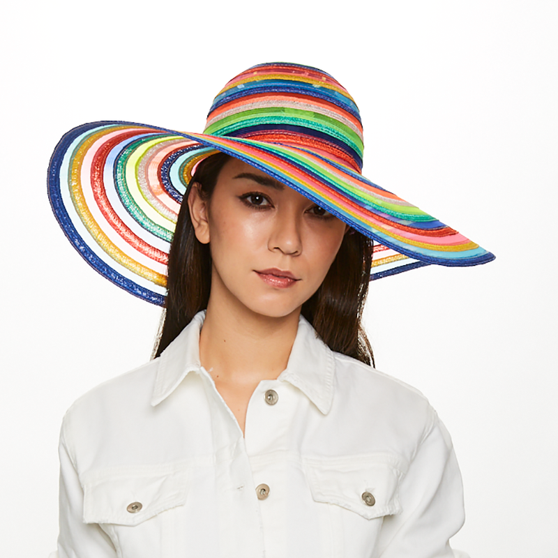 Model wears Eugenia Kim Bunny hemp and horsehair sunhat in Multicolor stripe