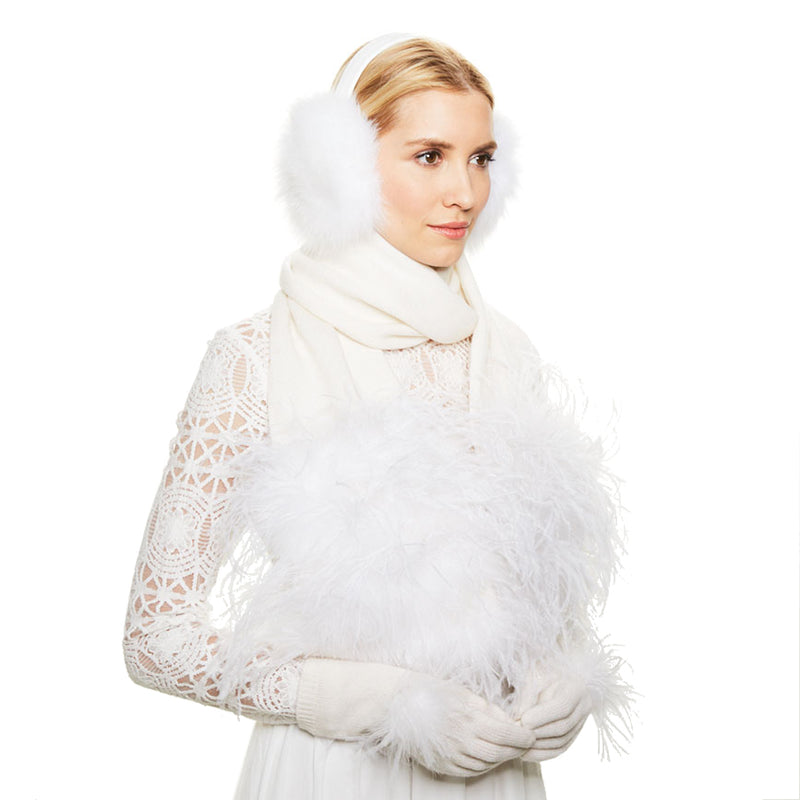 Eugenia Kim Bridal Sloane gloves in Winter White with White ostrich feather poms on each top-facing side