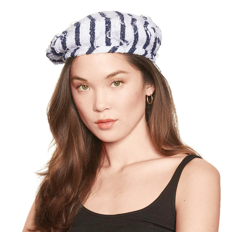 38ecf9b1baa884 Cher Beret in White/Navy Stripe Boucle by Eugenia Kim