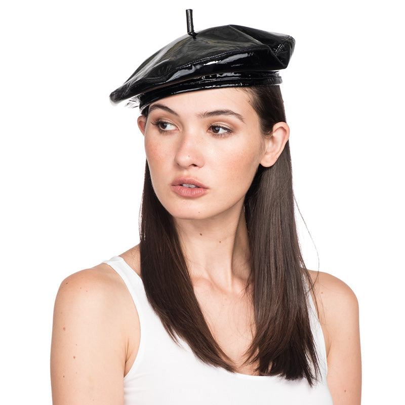 789b3390b43cea Carter Beret in Patent Leather by Eugenia Kim