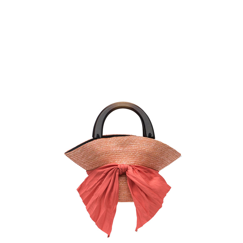 Evie straw bag in Peach - Eugenia Kim