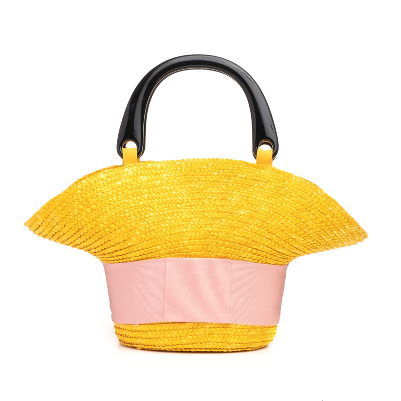 Eugenia Kim Evie bag in Marigold with Pink grosgrain