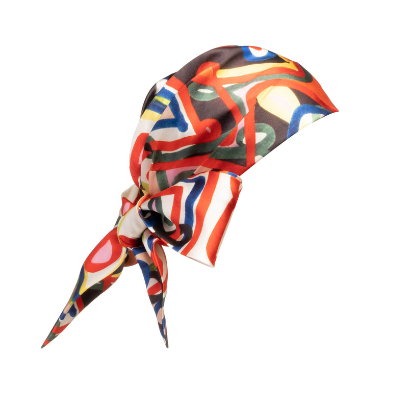 Eugenia Kim Gigi satin scribble print headscarf