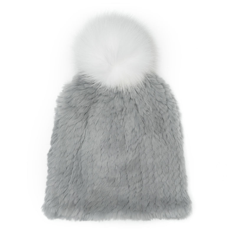 JANUARY GRAY RABBIT FUR BEANIE