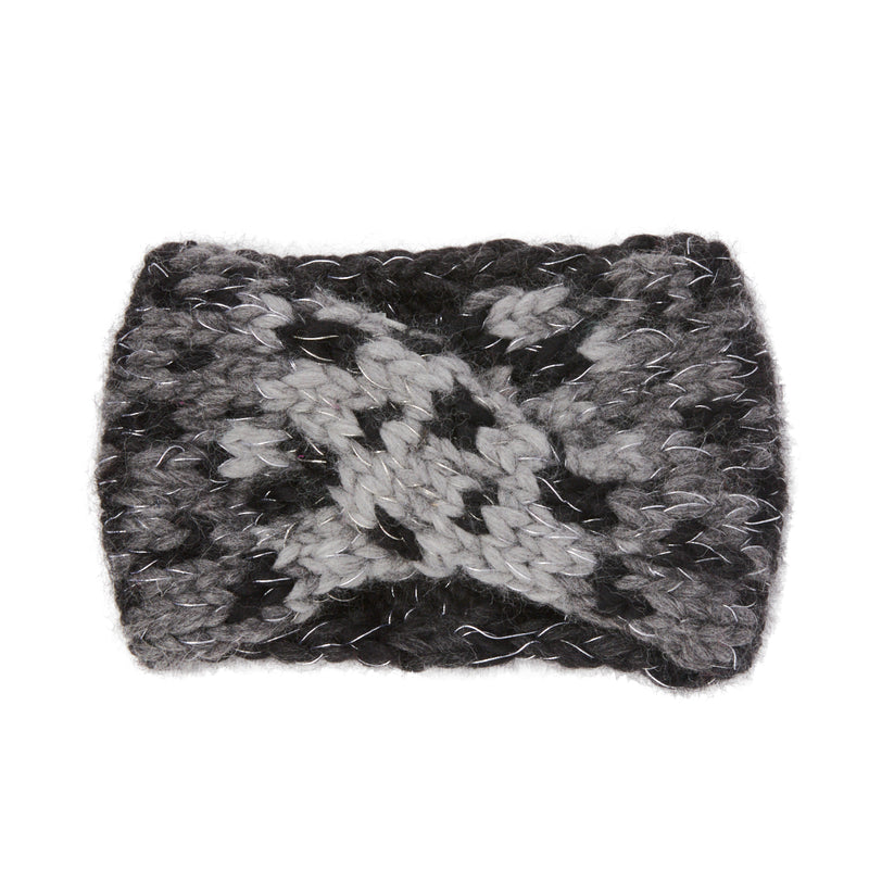 A female blonde haired model wearing the Eugenia Kim chunky wool knit Lula headband in ombre gray leopard print
