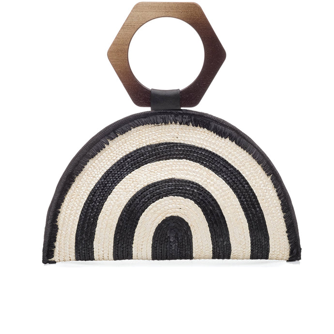 Luna Clutch in Ivory/Black Stripe - Eugenia Kim