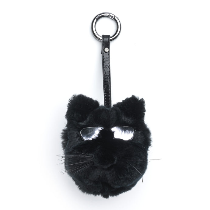 Lupe Black Fur Cat-Pom Key Chain