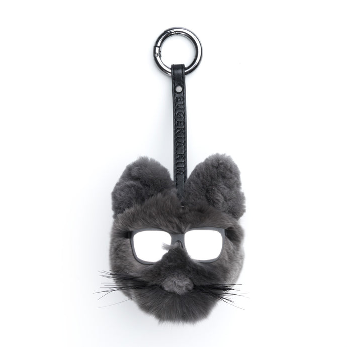 Lupe Charcoal Fur Cat-Pom Key Chain - Eugenia Kim