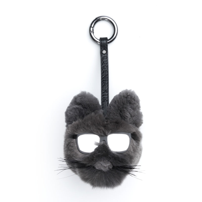 Lupe Charcoal Fur Cat-Pom Key Chain