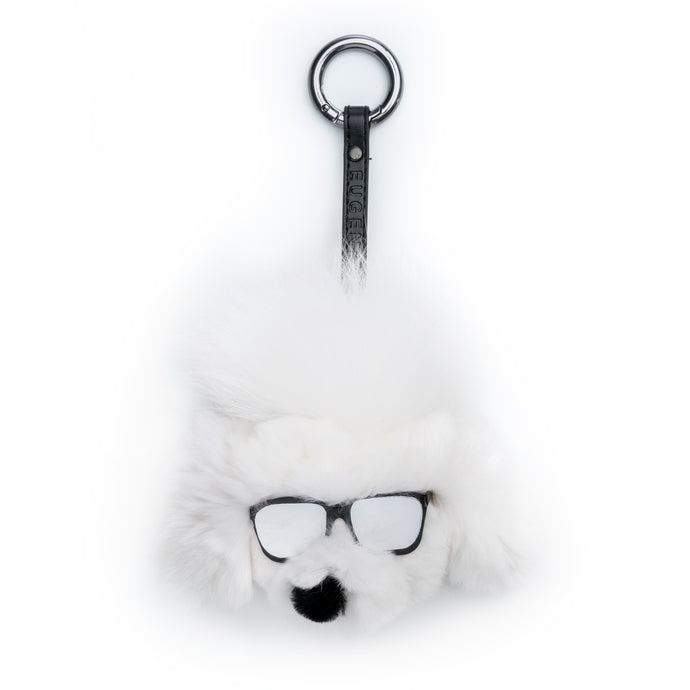 Lupe White Fur Poodle-Pom Key Chain