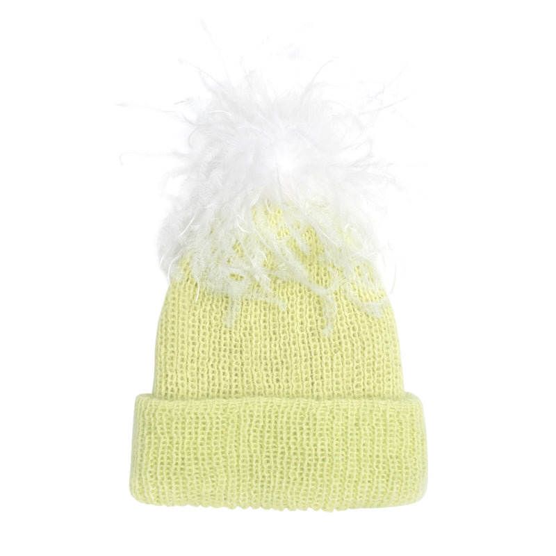 Eugenia Kim Angora Knit Maddox Beanie in Citrine with White Ostrich Pom