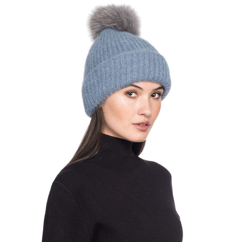 Maddox in Sky Blue with Gray Pom - Eugenia Kim