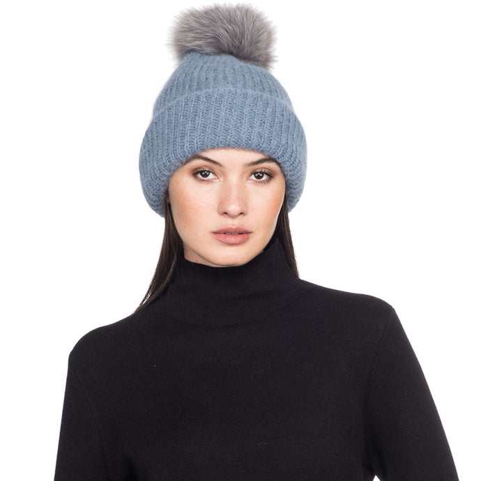 Maddox in Sky Blue with Gray Pom