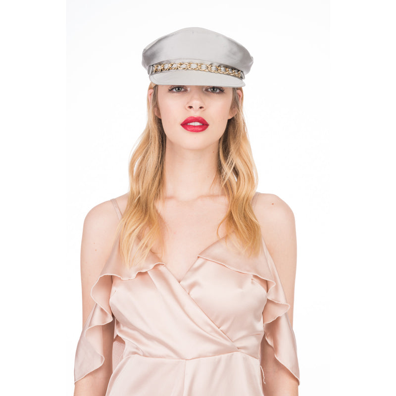 Marina Cap in Silver Satin - Eugenia Kim