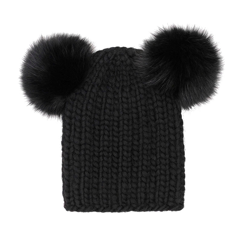 Eugenia Kim Core Collection Mimi hand-knit chunky wool beanie in Black with Black fox fur poms