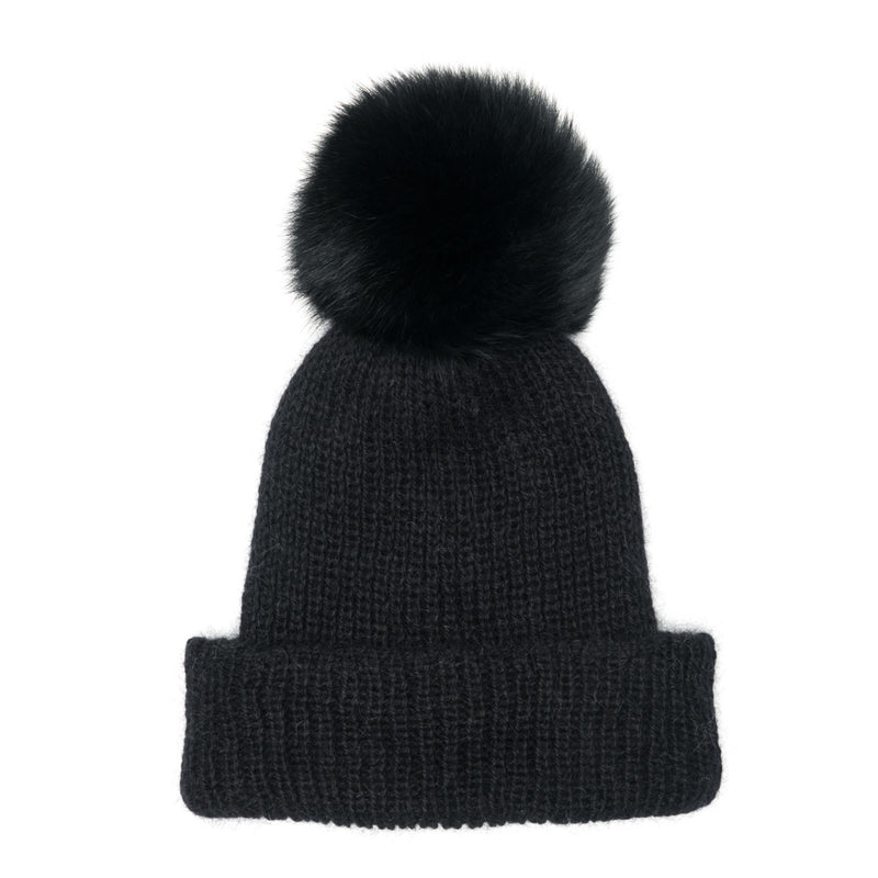 Eugenia Kim Core Collection black Maddox angora knit beanie with Black fox fur pom