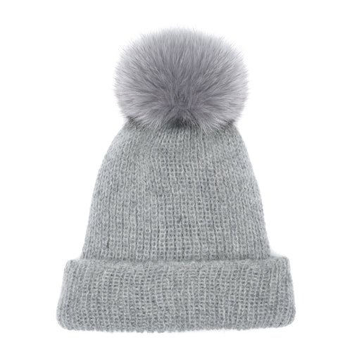 Eugenia Kim Core Collection Maddox angora knit beanie in Light Gray with Light Gray fox pom