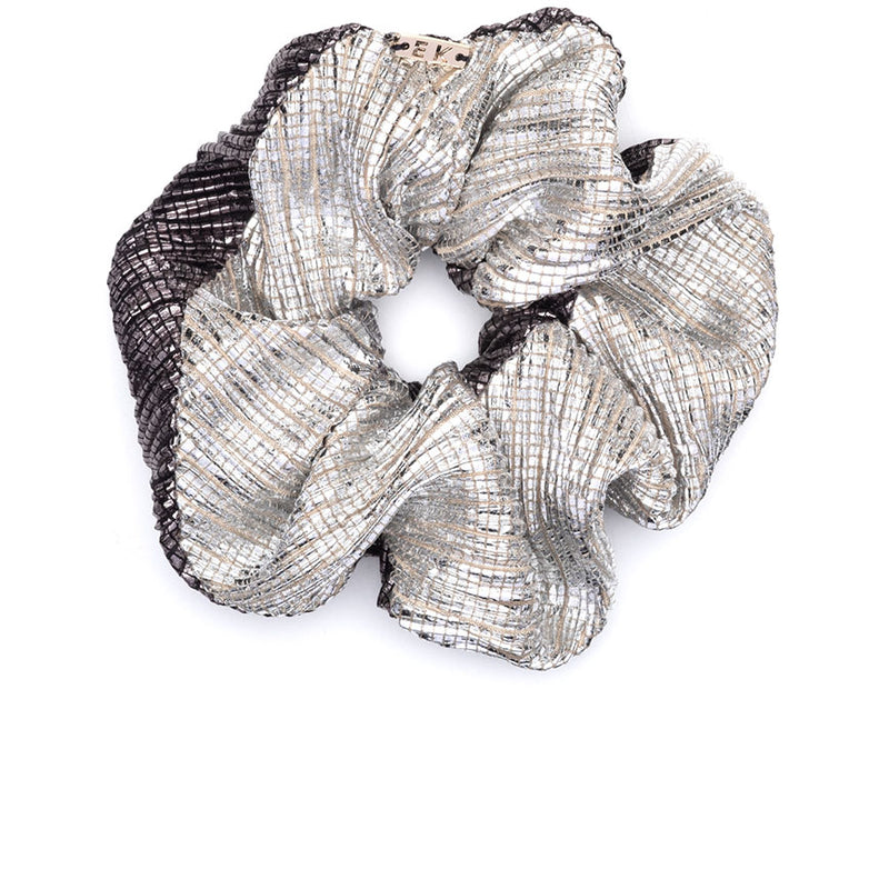 Mallory Silver/gunmetal lamé scrunchie by accessories designer Eugenia Kim