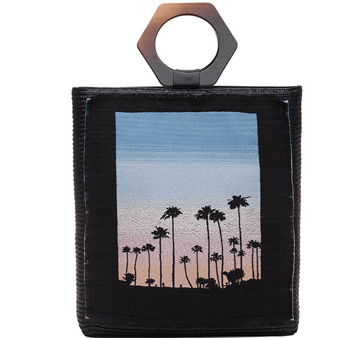 Margaux Shopper in Black with Palm Tree & Sunset Applique - Eugenia Kim