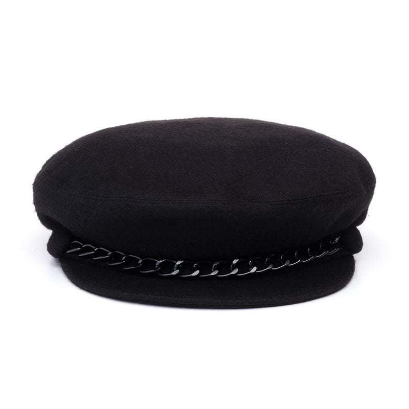 Eugenia Kim Core Collection Marina cashmere cap in Black with Black chain