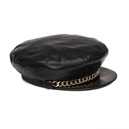 Eugenia Kim Core Collection Marina Cap in Black Leather with Gold Chain