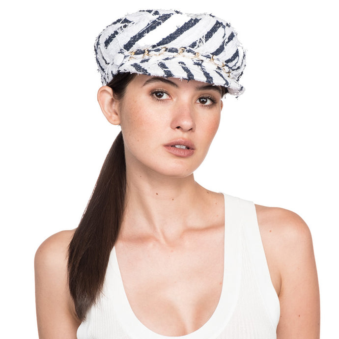 Marina in White/Navy Stripe - Eugenia Kim