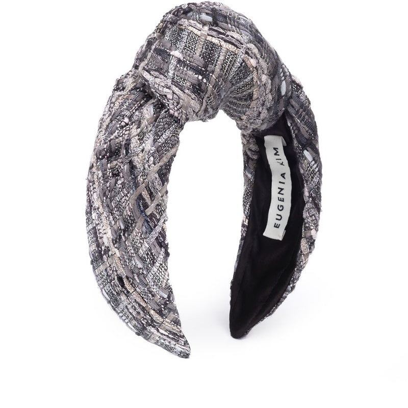Eugenia Kim Pre-Fall 2019 Maryn knotted headband in Gray/Multi Tweed
