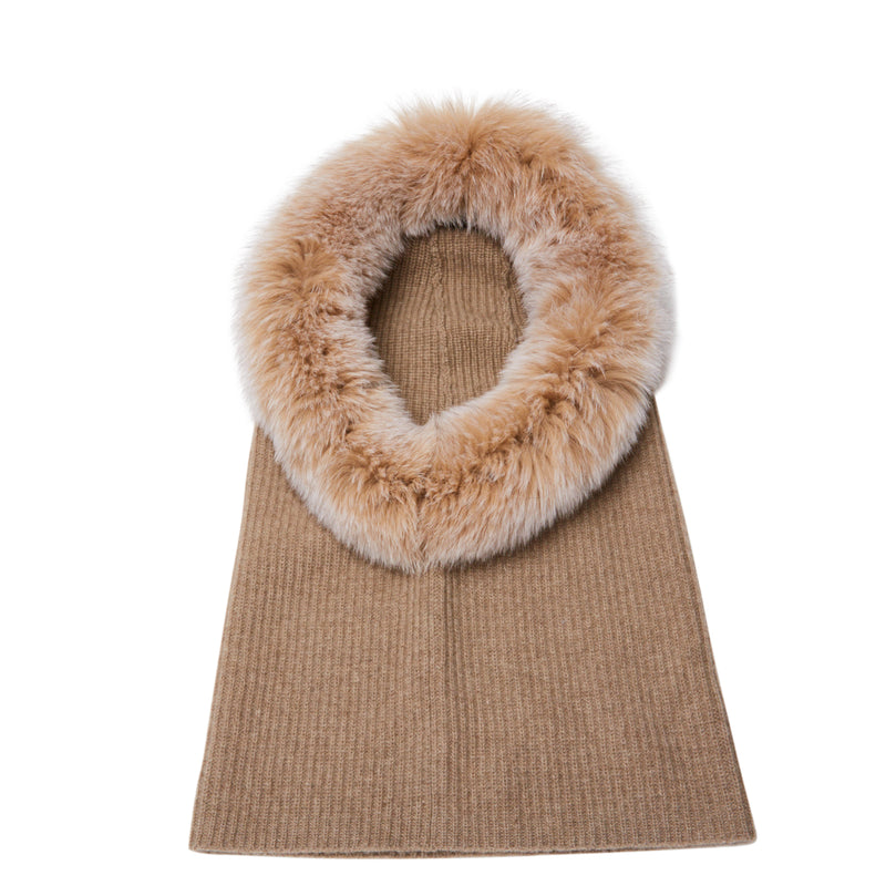 Eugenia Kim Paulina cashmere knit hood with fox fur trim