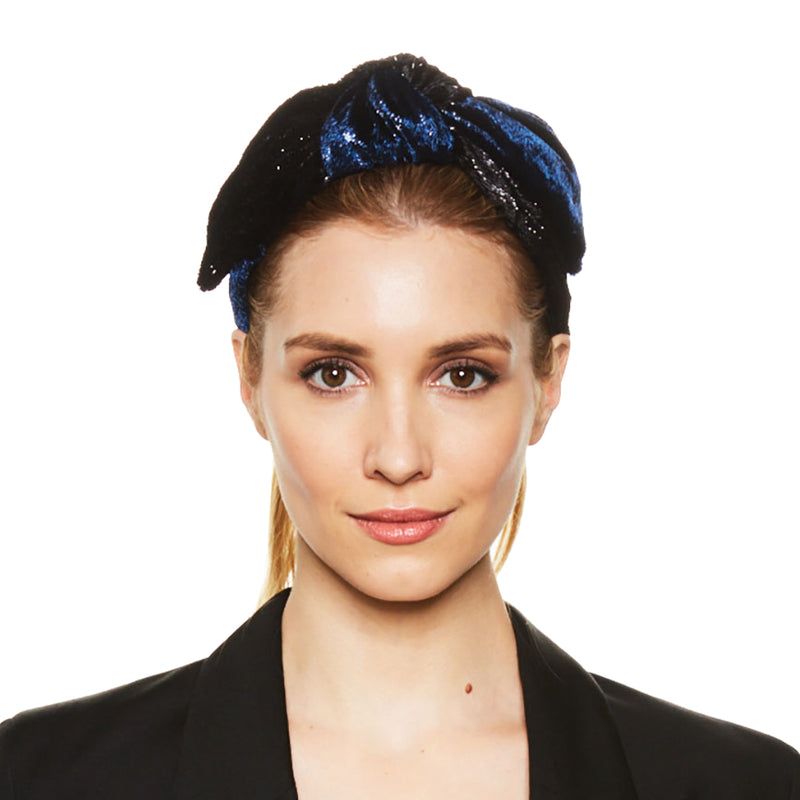 Navy Black Phoebe Headband with tied knot by accessories designer Eugenia Kim