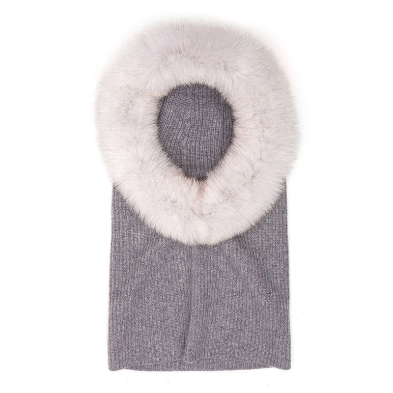 Eugenia Kim Core Collection Paulina Cashmere Hood in Gray with Gray Fox Fur Trim