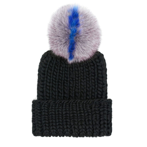 Rain Hand-Knit Beanie with Gray/Blue Pom